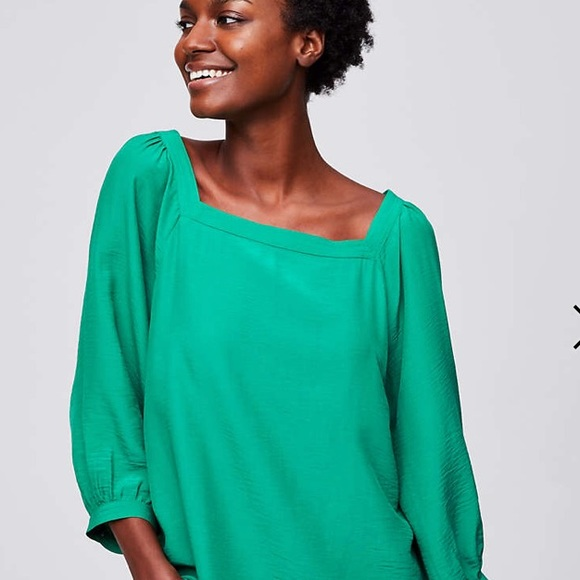 47a62dbc0247d8 New LOFT Square Neck Blouse in dynamic green. M_5accc9b046aa7c171d990cd1